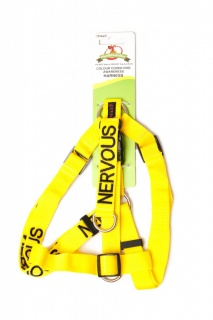 NERVOUS DOG,  Dog Strap Harness Yellow Colour Coded