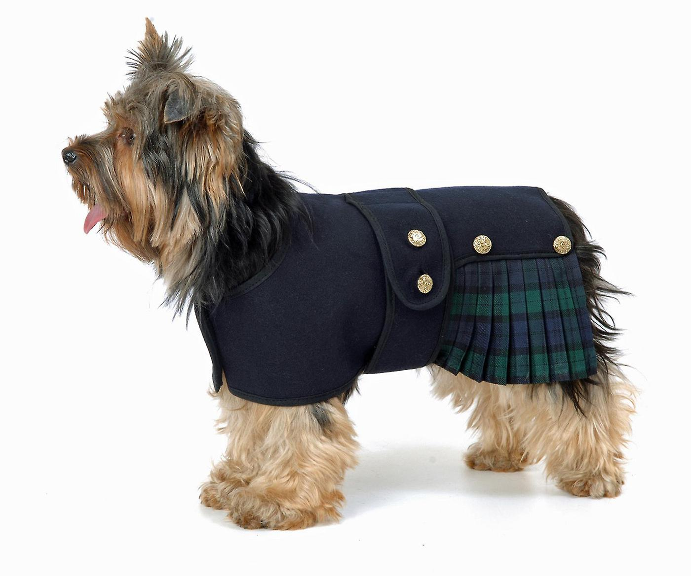 Black wool Cosi-Kilt Jacket Dog Coat  kilt Tartan Royal Stewart Black Watch