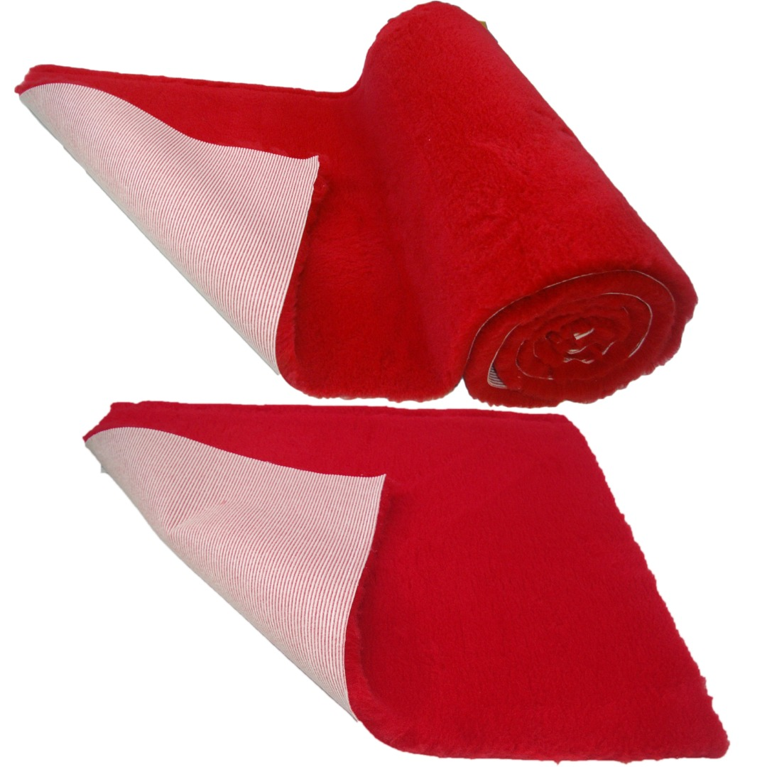 Red Plain NON-SLIP Vet Bedding Fleece for Whelping dogs, puppies and Senior dogs PRO BED