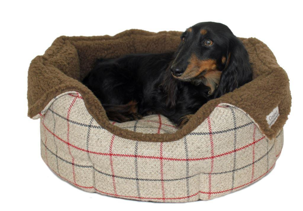 Coffee coloured High-Sided Luxury Tweed Slumbernest Dog Beds
