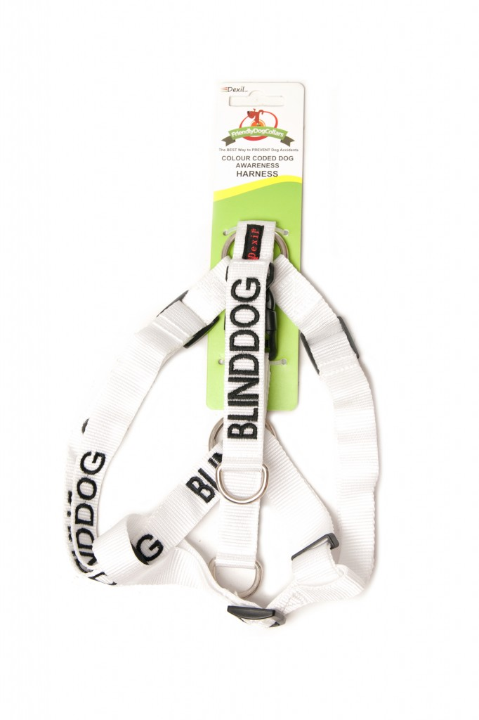 BLIND DOG,  Dog Strap Harness White Colour Coded