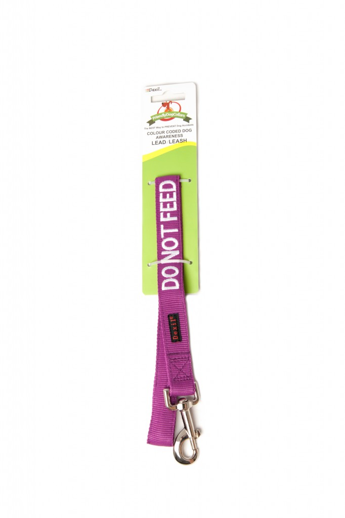 DO NOT FEED DOG,  Dog Lead Leash with padded Handle  Purple Colour Coded