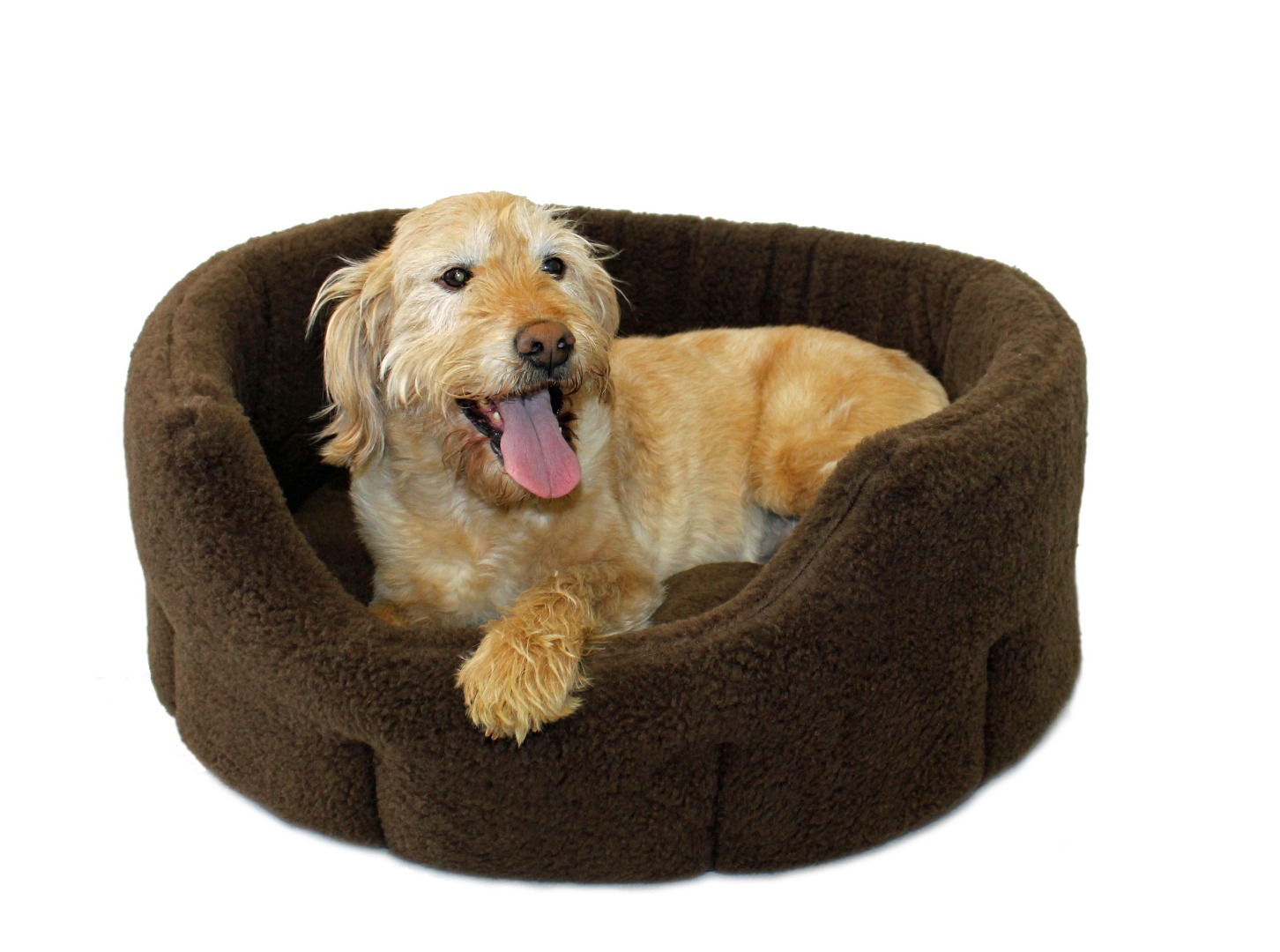High Sided Luxury  Fur Slumbernest Brown Dog Bed