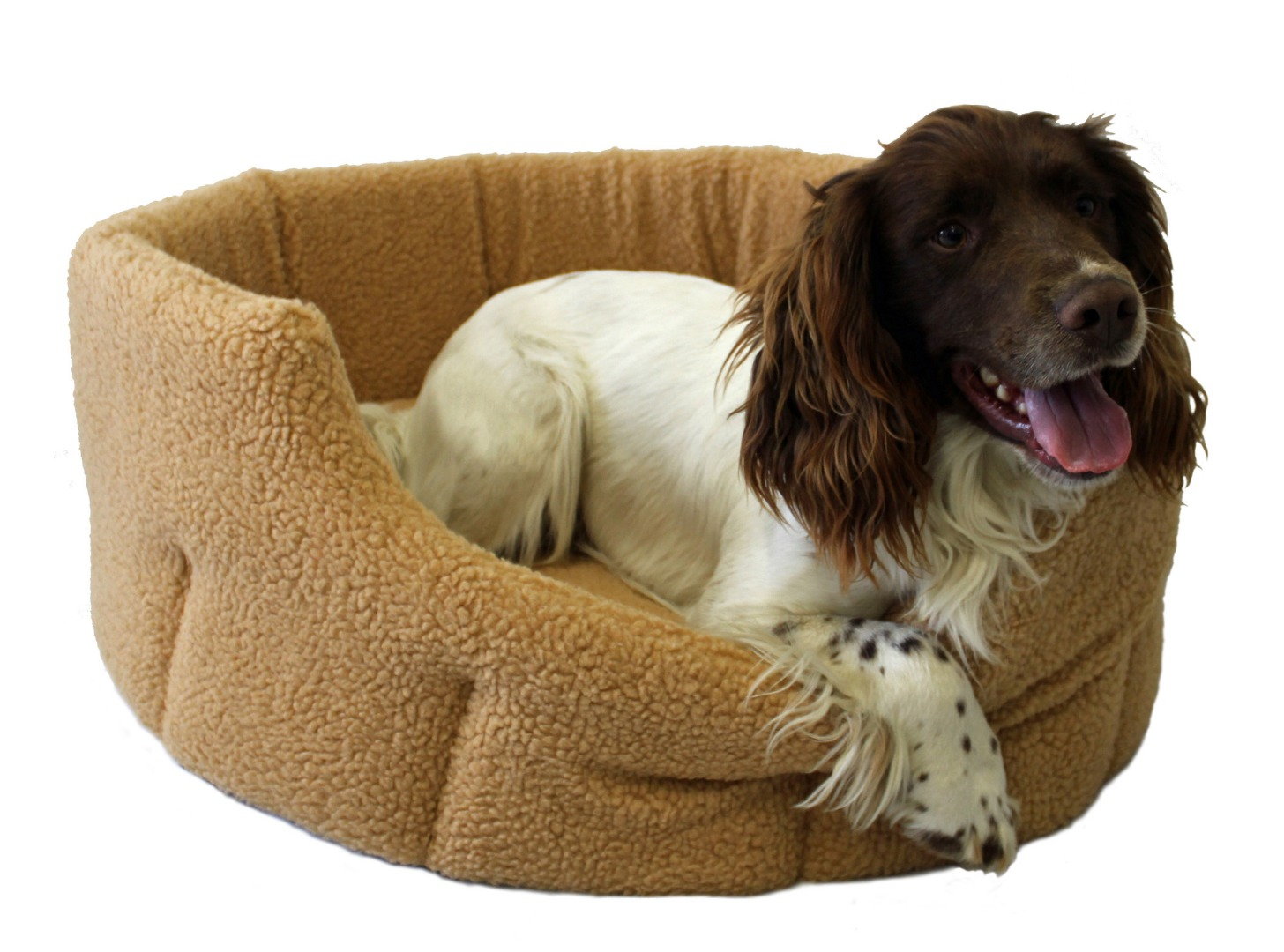High Sided Luxury Fur Slumbernest Fawn Tan Dog Bed