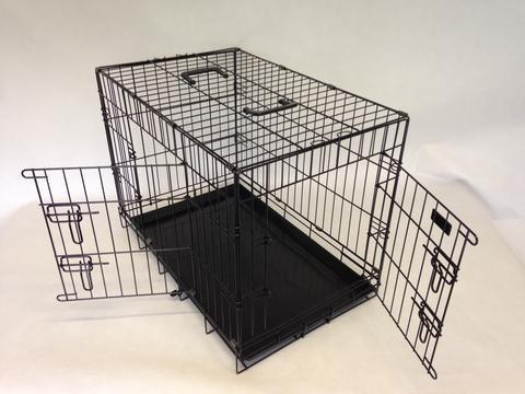 2 Door Black  Stong Heavy Duty Tough Dog Pet Cages Rattle Free